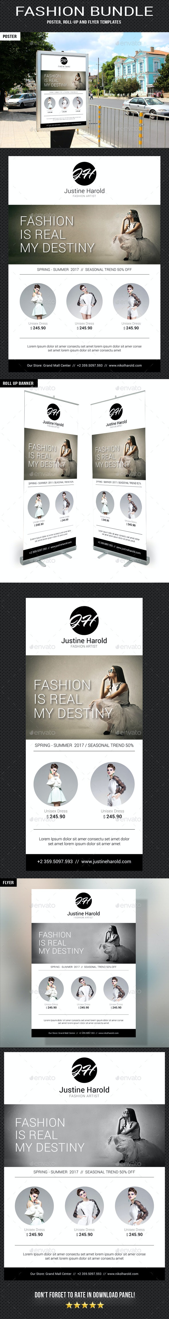 3 Fashion Poster Flyer Banner Bundle - Signage Print Templates