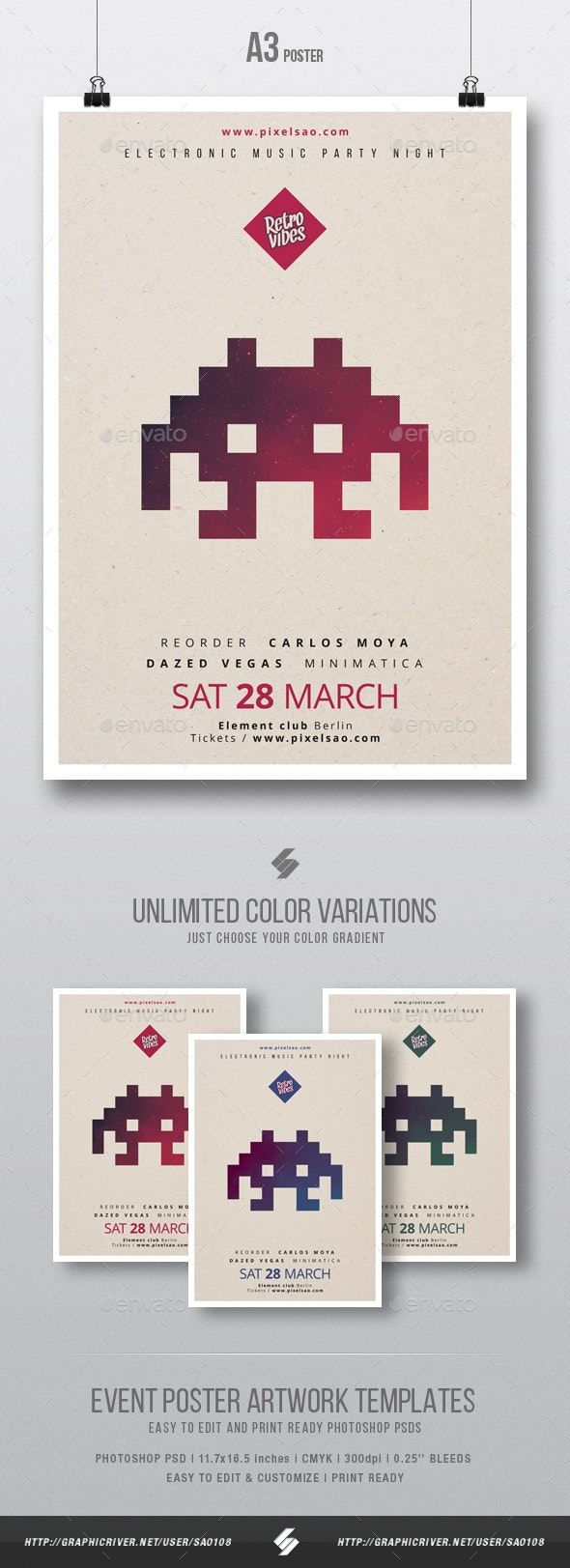 Retro Vibes - Minimal Party Poster / Flyer Template A3 - Clubs & Parties Events