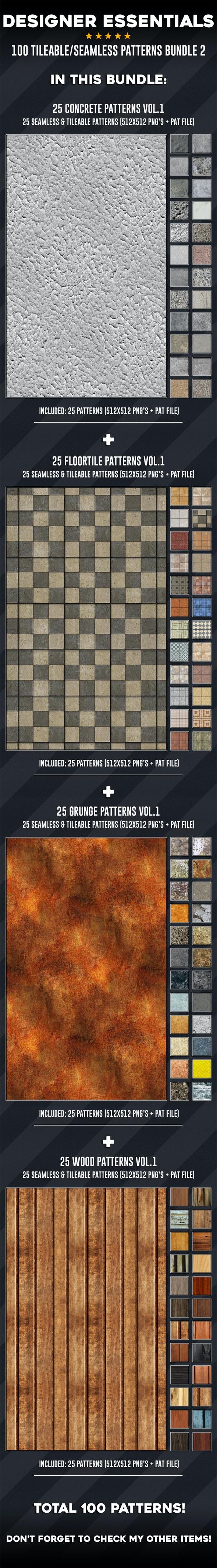 100 Tileable / Seamless Patterns Bundle Vol.2 - Miscellaneous Textures / Fills / Patterns