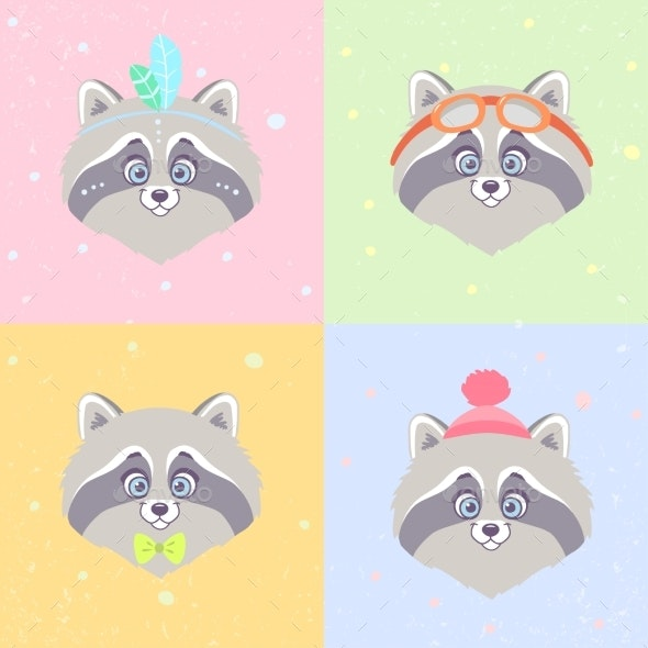 Raccoons Set - Animals Characters