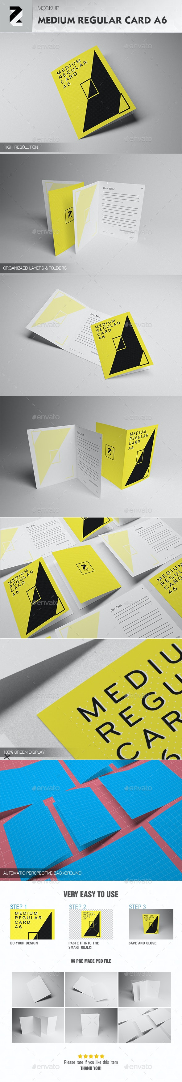 Medium Regular Card A6 Mockup - Brochures Print