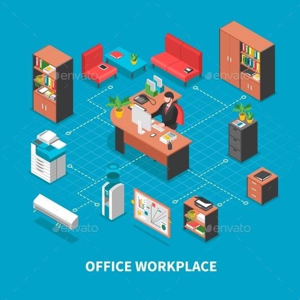 Office Workplace Background Concept - Conceptual Vectors