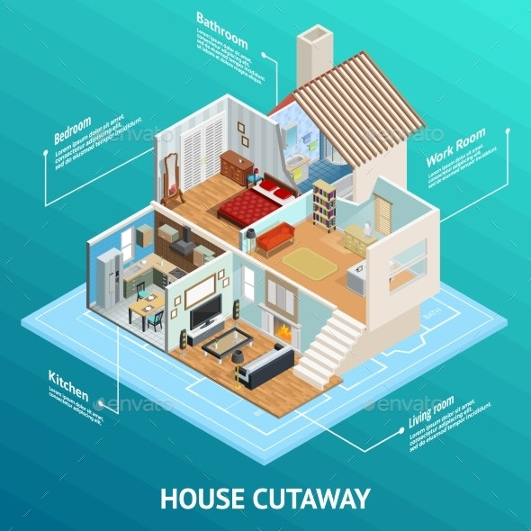 Isometric House Profile Concept - Buildings Objects