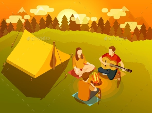 Friends Singing Around Campfire Isometric - People Characters