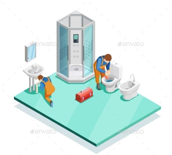 Plumbers In Modern Bathroom Isometric Image - Miscellaneous Conceptual