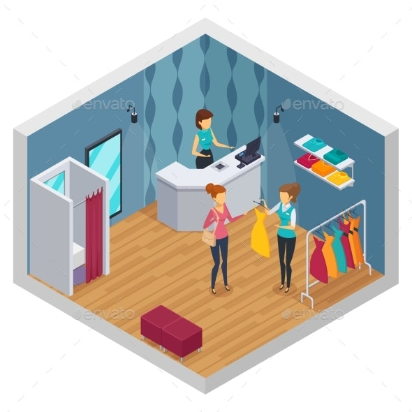 Clothing Shop Isometric Interior - Retail Commercial / Shopping