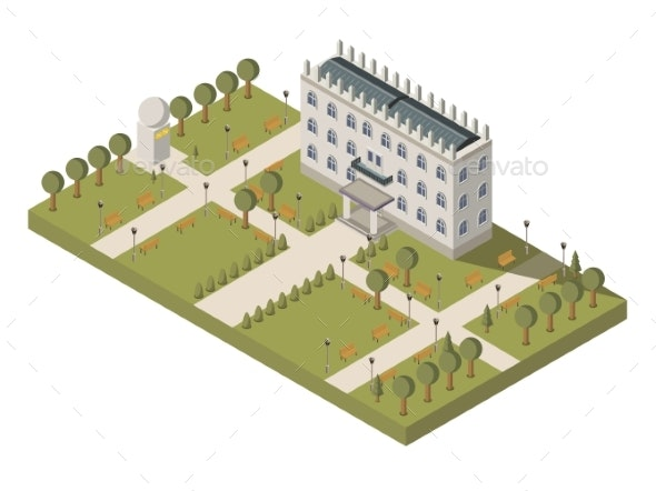 Isometric University Composition - Buildings Objects