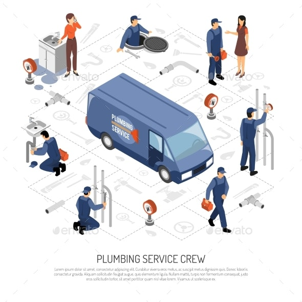 Plumber Isometric Concept - People Characters