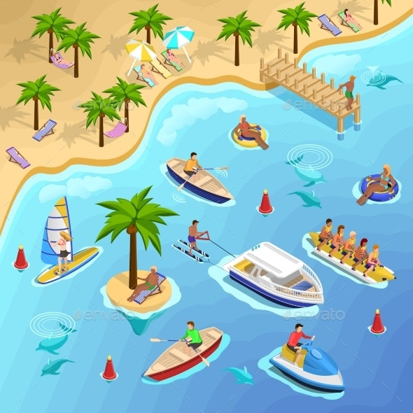 Tropical Beach Boating Background - Backgrounds Decorative