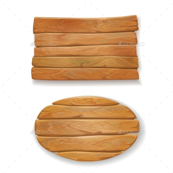 Wooden Old Board Vector Illustration - Decorative Symbols Decorative