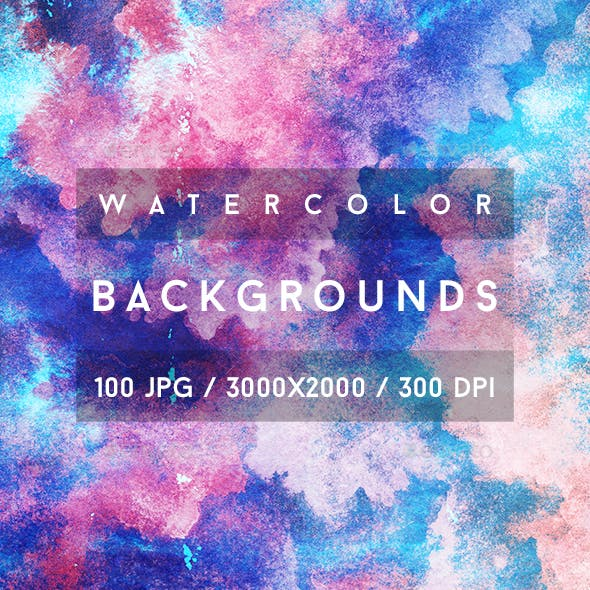 100 Watercolor Backgrounds