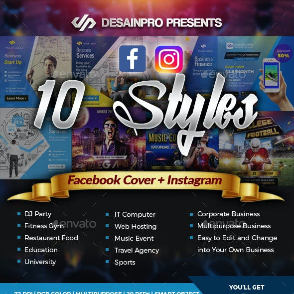 Facebook Cover and Instagram Templates