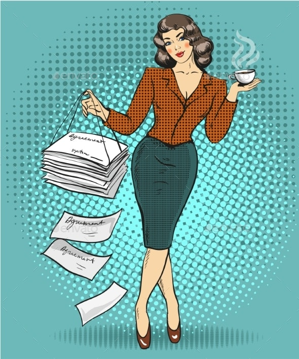 Vector Illustration of Business Woman in Retro Pop - Concepts Business