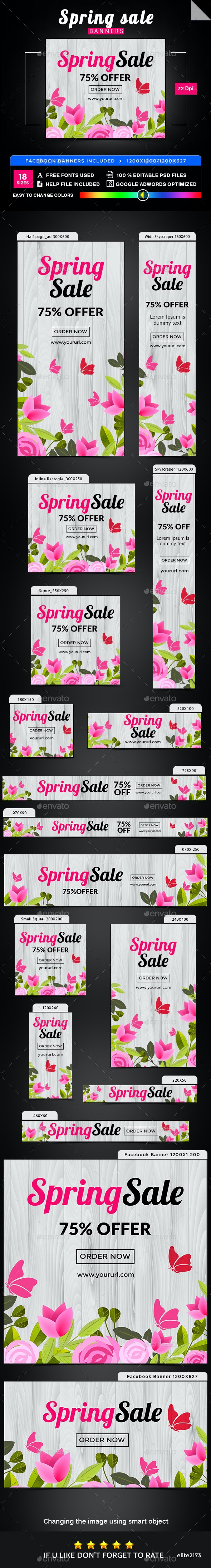 Spring Sale Banners - Image Included - Banners & Ads Web Elements