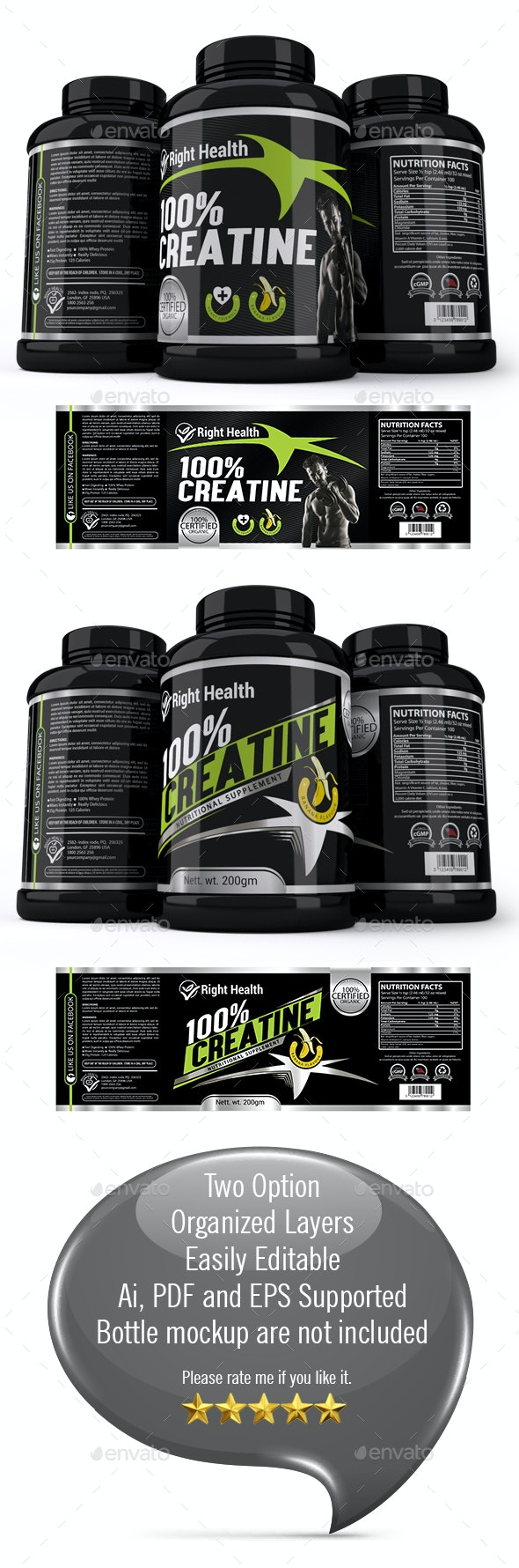 Supplement Label Template 006 - Packaging Print Templates