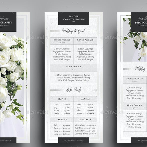 Photography Pricing Guide - Rack Card Template