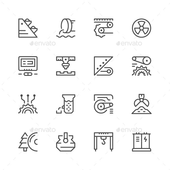 Set Line Icons of Industry - Man-made objects Objects
