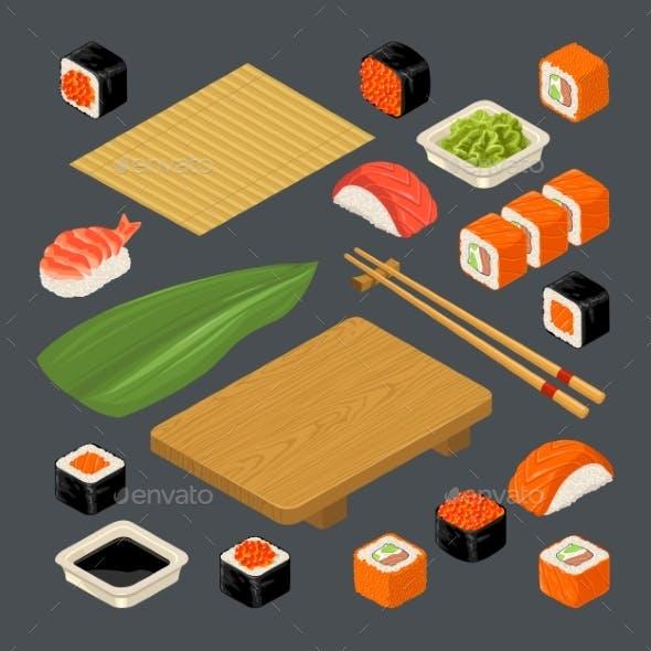 Set Icon Sushi Nigiri and Rolls.