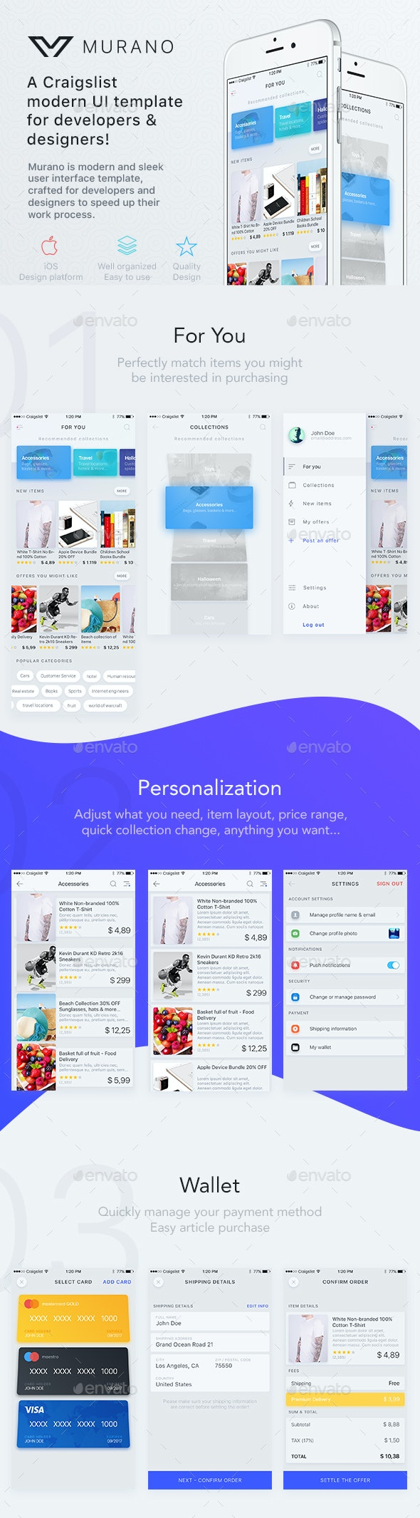 Murano - A Craigslist App For iOS - User Interfaces Web Elements