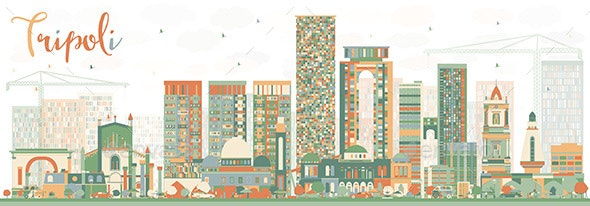 Abstract Tripoli Skyline with Color Buildings. - Buildings Objects