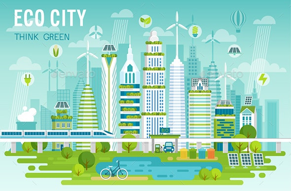 Eco City Skyline - Buildings Objects