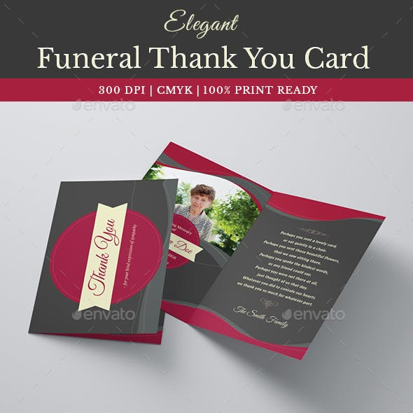 Elegant Funeral Programe Thank You Card Template