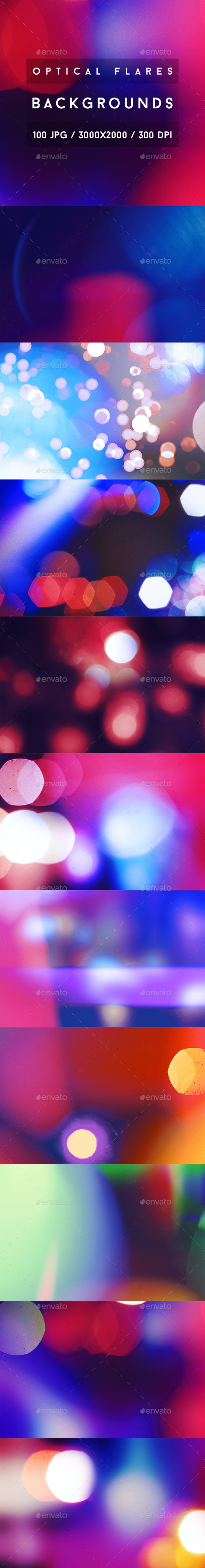 100 Optical Flares Backgrounds - Abstract Backgrounds