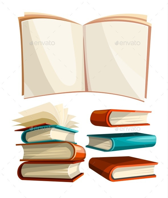 Big Piles Set of Books with Open Pages Spread - Vectors