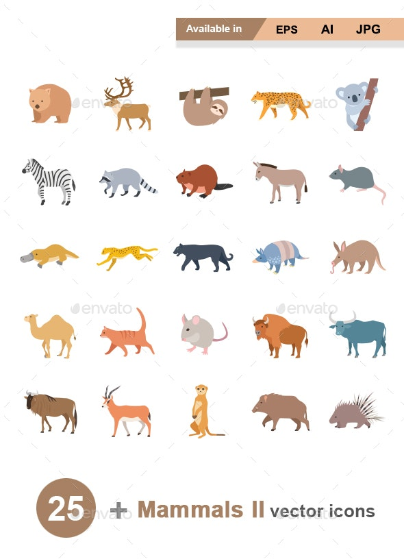 Mammals II Color Vector Icons - Animals Characters