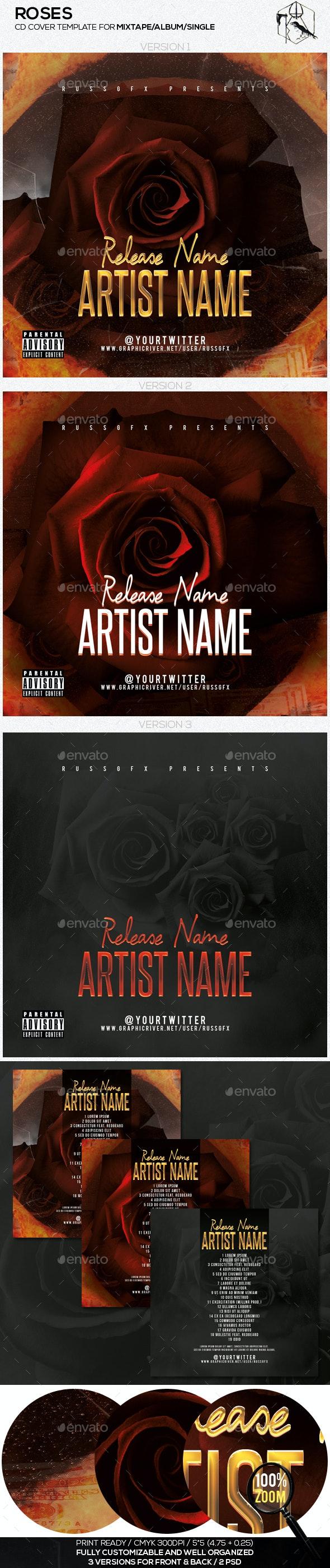 Roses PSD CD Mixtape Cover Template - CD & DVD Artwork Print Templates
