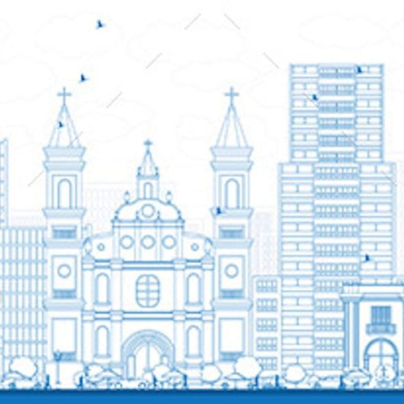 Outline Tegucigalpa Skyline with Blue Buildings.