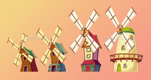Vector Cartoon Illustrations of Traditional Old - Buildings Objects