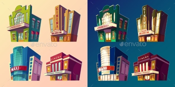Set of Vector Isometric Illustration of Buildings - Buildings Objects