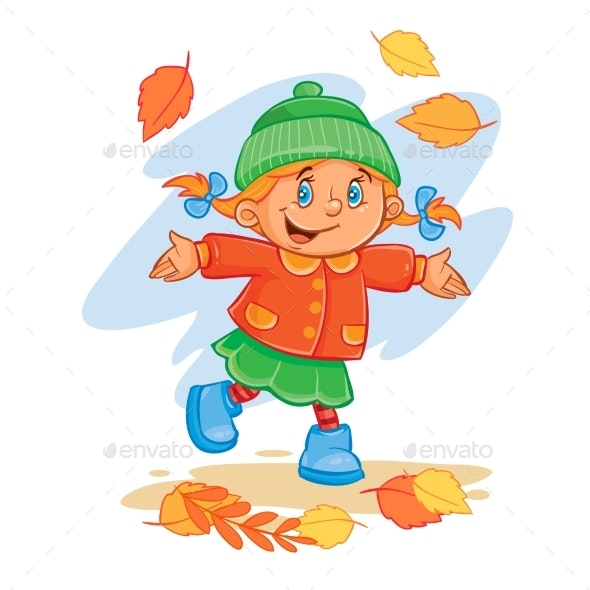 Vector Icon of Small Child Throws Up the Fallen - People Characters