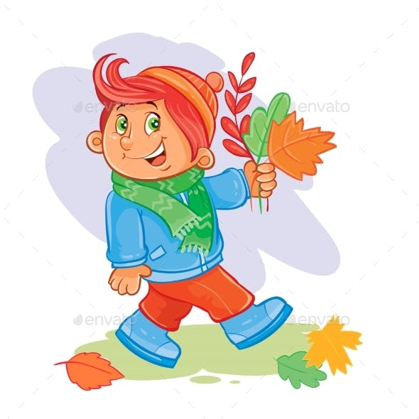 Vector Icon of Small Boy Collects Fallen Leaves