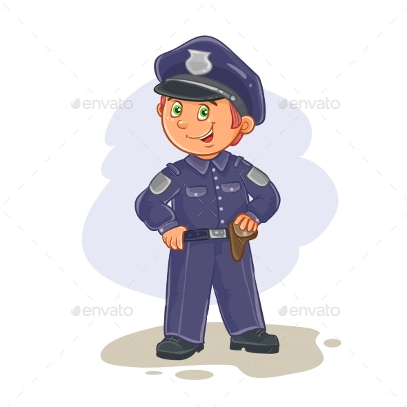 Vector Icon of Small Child Police Man. - People Characters