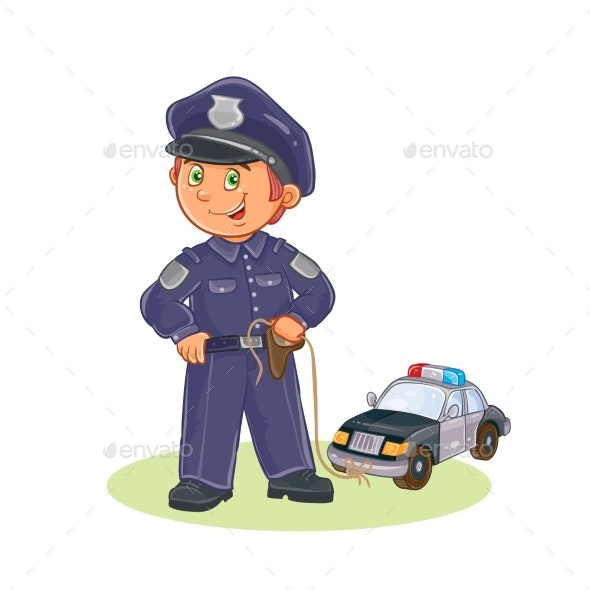 Vector Icon of Small Child Policeman - People Characters