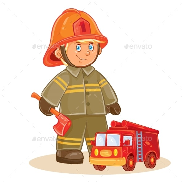 Vector Icon of Small Child Firefighter  - People Characters