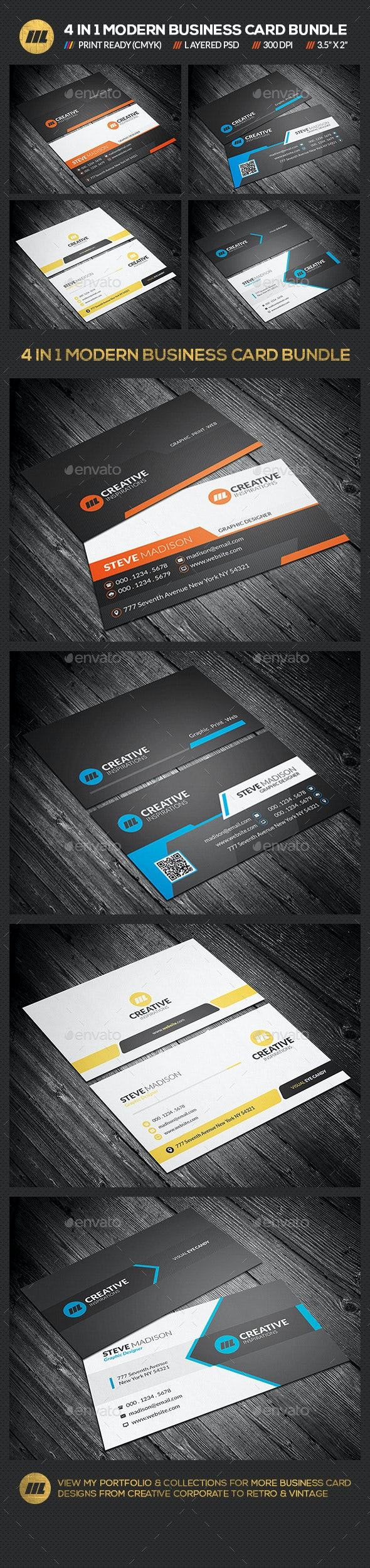 4 in 1 Business Card Bundle 01 - Corporate Business Cards