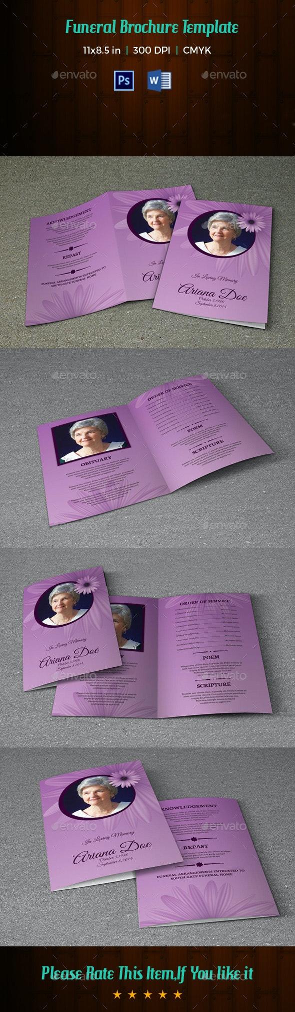 Printable Funeral Program Template-V160 - Informational Brochures