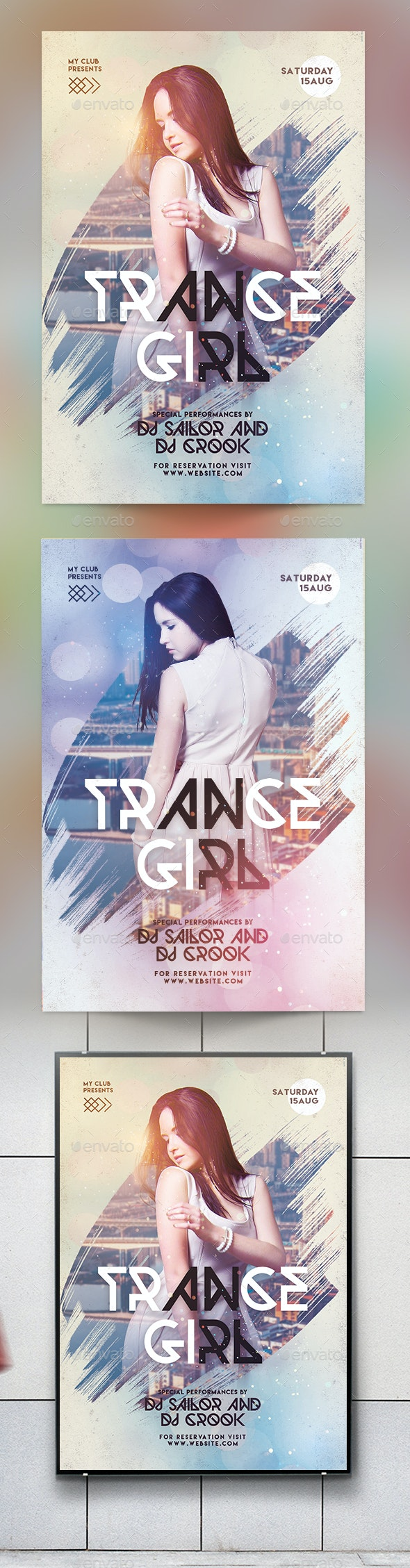 Trance Girl Party Flyer - Clubs & Parties Events