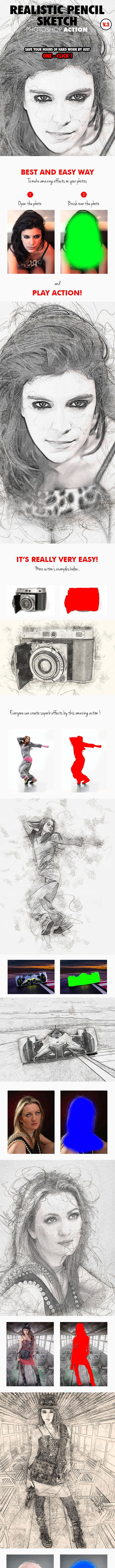 Realistic pencil sketch photoshop action v 3 photo effects actions