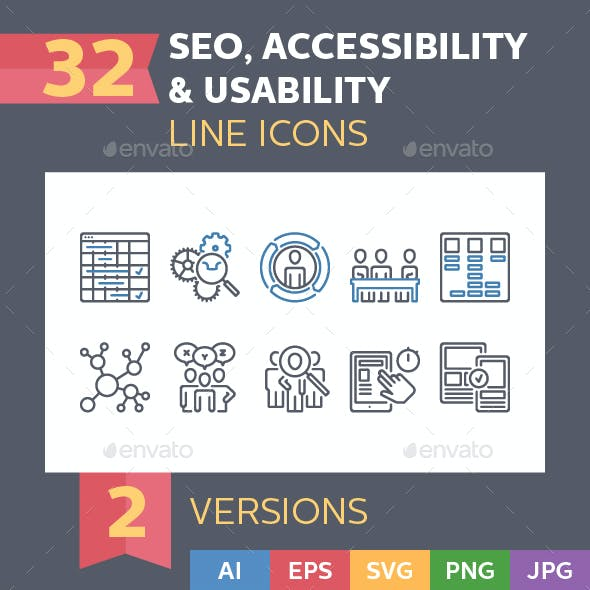 Seo, Accessibility & Usability Icons - Line Series