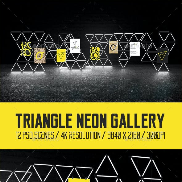 Triangle Neon Gallery Mock Ups Pack