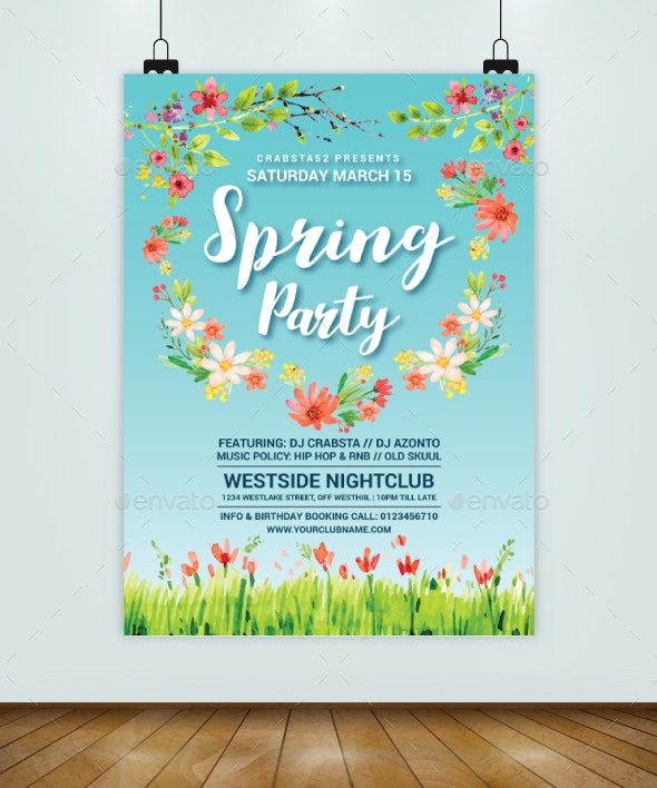 Super Spring Party Flyer Template - Flyers Print Templates