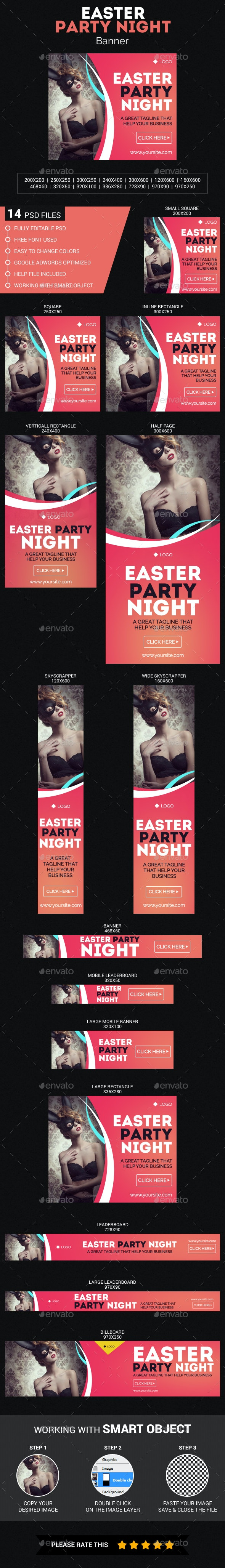 Easter Party Night - Banners & Ads Web Elements