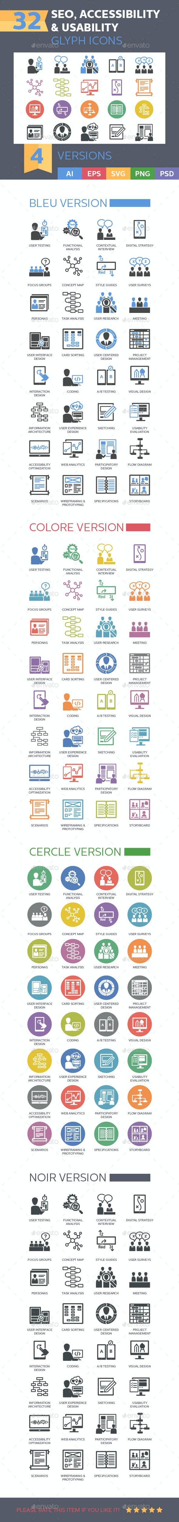 Web Usability & Accessibility Icons - Glyph Series - Web Icons