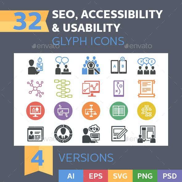 Web Usability & Accessibility Icons - Glyph Series