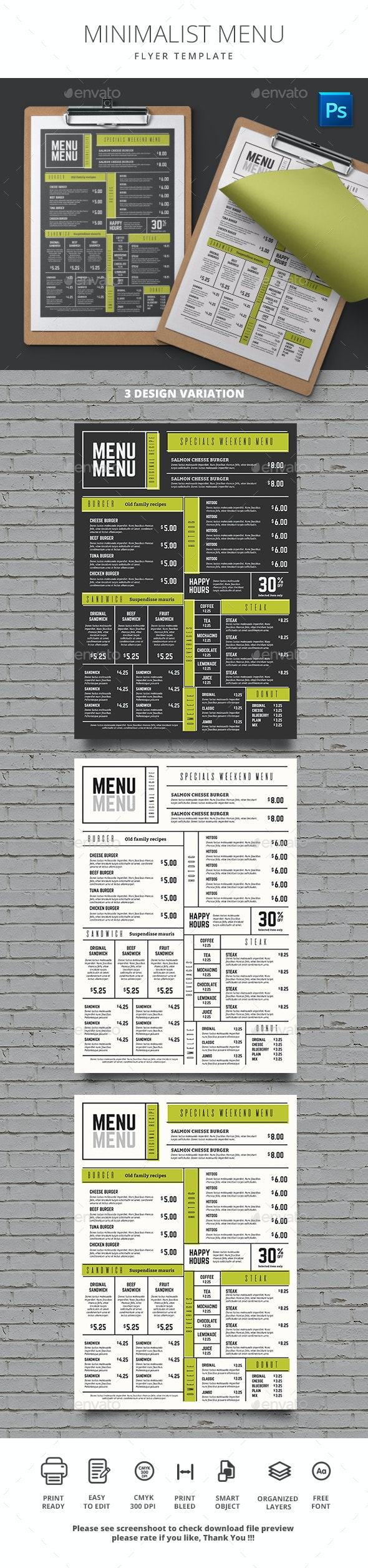 Minimalist Menu - Food Menus Print Templates