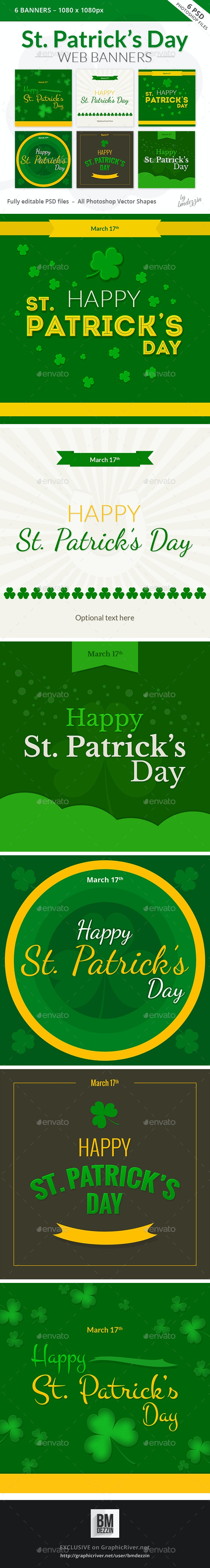 St Patricks Day Web Banners - Banners & Ads Web Elements